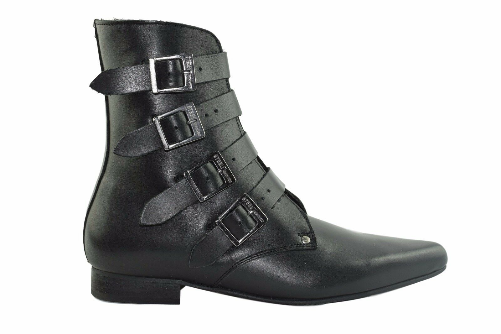 Steel Ground schwarz Leder Winklepicker Rock Stiefel 4 Straps Buckle Sb021Z92.Nik