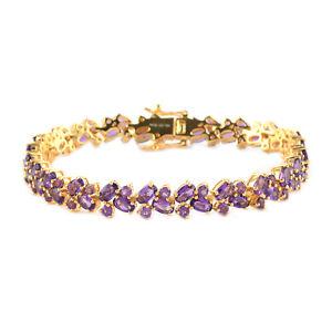 "925 Sterling Silver Gold Over Amethyst Tennis Bracelet Gift Size 7.25"" Ct 11.7"