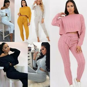 e3ef5e6e25 Details about Ladies Cable Ribbed Knitted Baggy Casual 2 Pcs Loungewear Set  Women Tracksuits