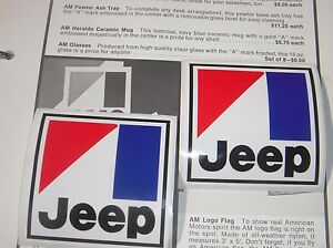 2-AMC-Jeep-emblem-decal-CJ5-CJ7-Wagoneer-J10-J20-Renegade-Cherokee-BARGAIN