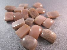 Peach/Grey Moonstone Flatback Double Drilled Beads 19pcs