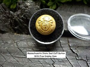 Old Rare Vintage Antique Relic War  Massachusetts Uniform Cuff Button Free Case