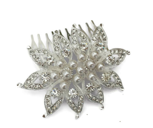 Silver Leaf Design Hair Comb Slide with Crystals and Pearls Etched Bridal Prom