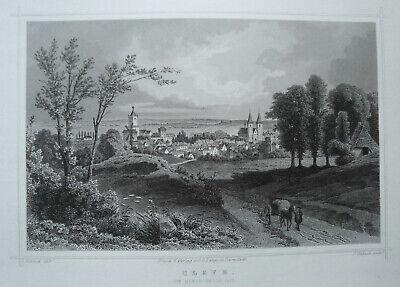 Modestil Cleve Vom Monte Bello Gesehen Nordrhein-wesfalen Echter Alter Stahlstich 1844