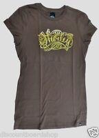 Hurley Pen & Ink Cola Brown Gold Screenprint Short Sleeve Junior's T-shirt