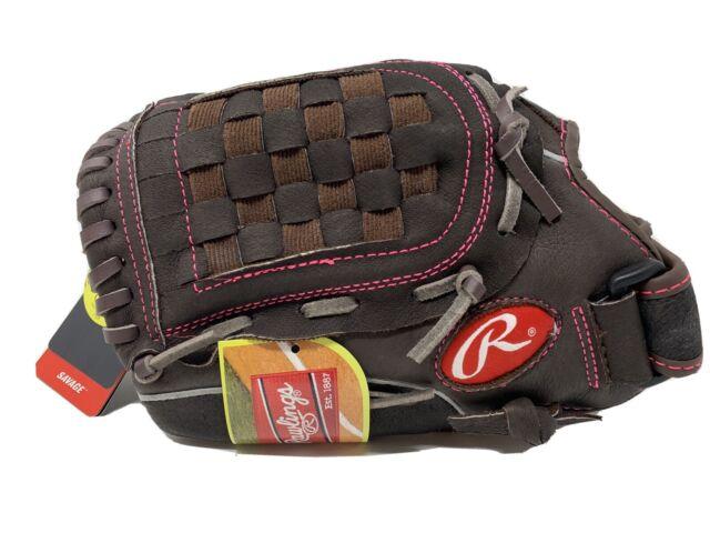 "Rawlings Savage Series Fast Pitch 11.5"" Softball Glove Brown Pink - LHT - FP115"