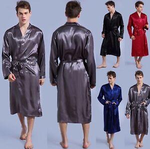 Mens-Satin-Silk-Pajamas-Kimono-Bathrobe-Robe-Dressing-Summer-Gown-Pjs-Loungewear
