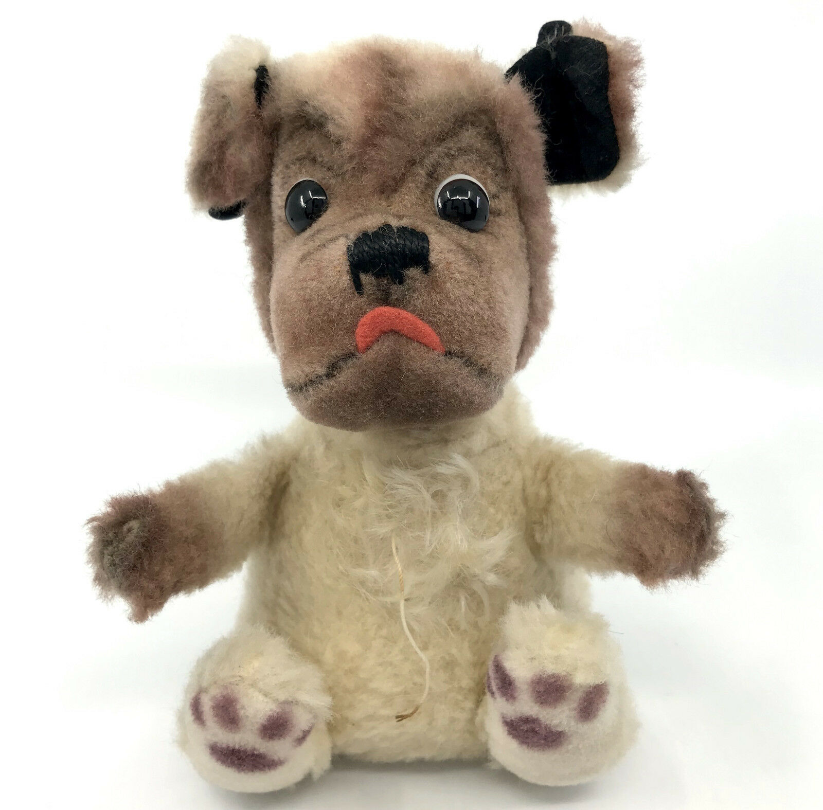 Steiff Mopsy Ball Dog Dralon Mohair Plush 16cm 6.5in 1960 -61 Rare Vintage no ID