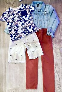 Boys-H-amp-M-11-12-Jean-Jacket-Old-Navy-8-Tee-10-Shorts-8-Slim-Pant-Outfit-Lot-374