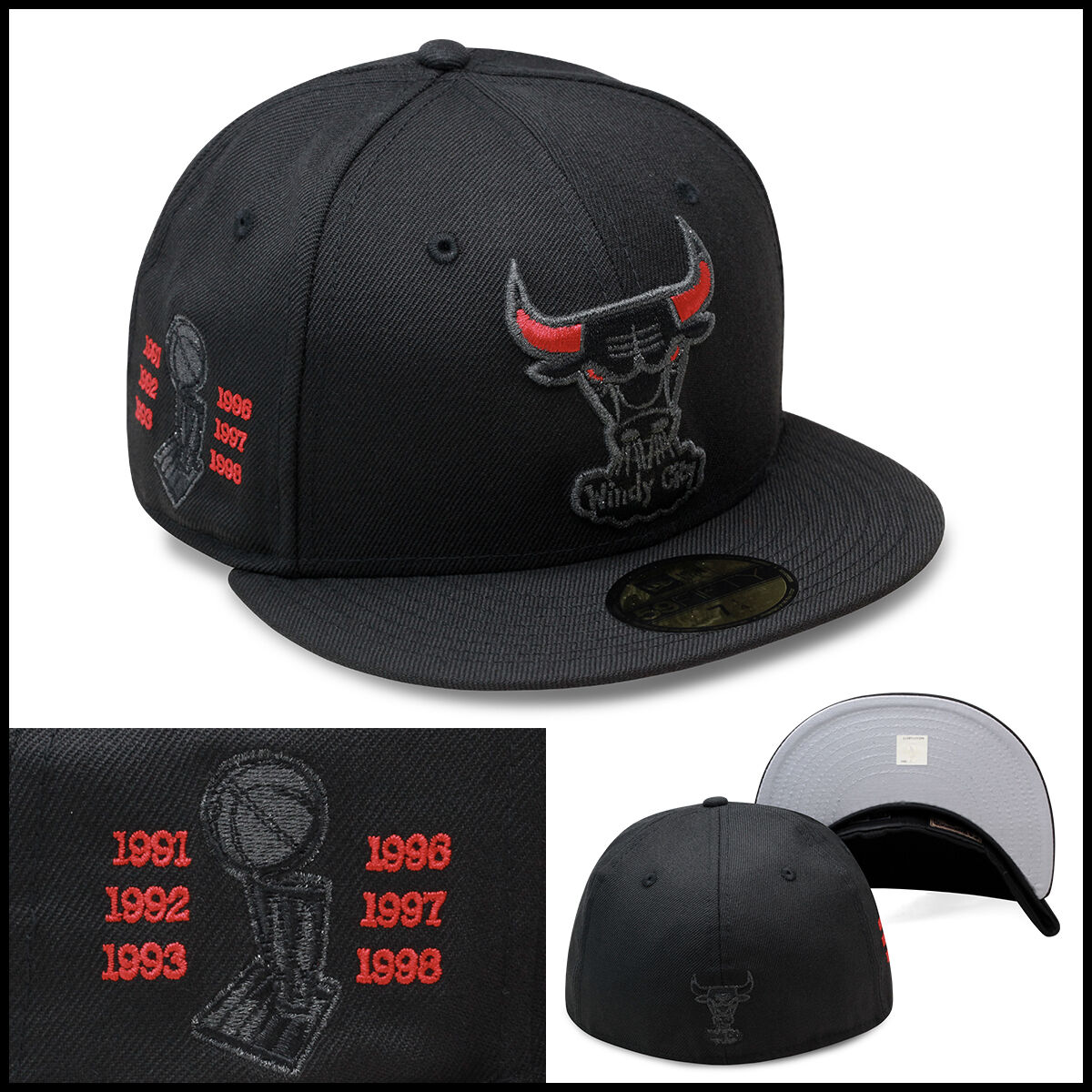 4844dfeda7a ... sale new era chicago bulls fitted hat all black red eye 6x for jordan  11 ef602 ...