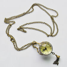 New Vintage Style Glass Ball Steampunk Pocket Watch Antique Brass Necklace L6