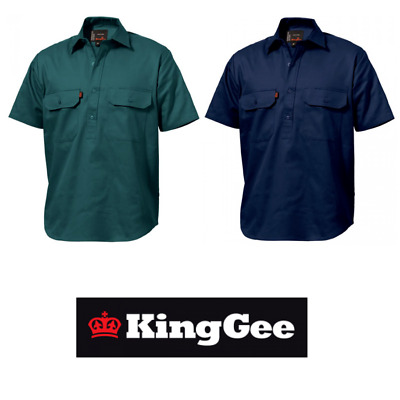 Mens KingGee Closed Front Full Button 100/% Cotton Drill Work Shirt Pocket K04020