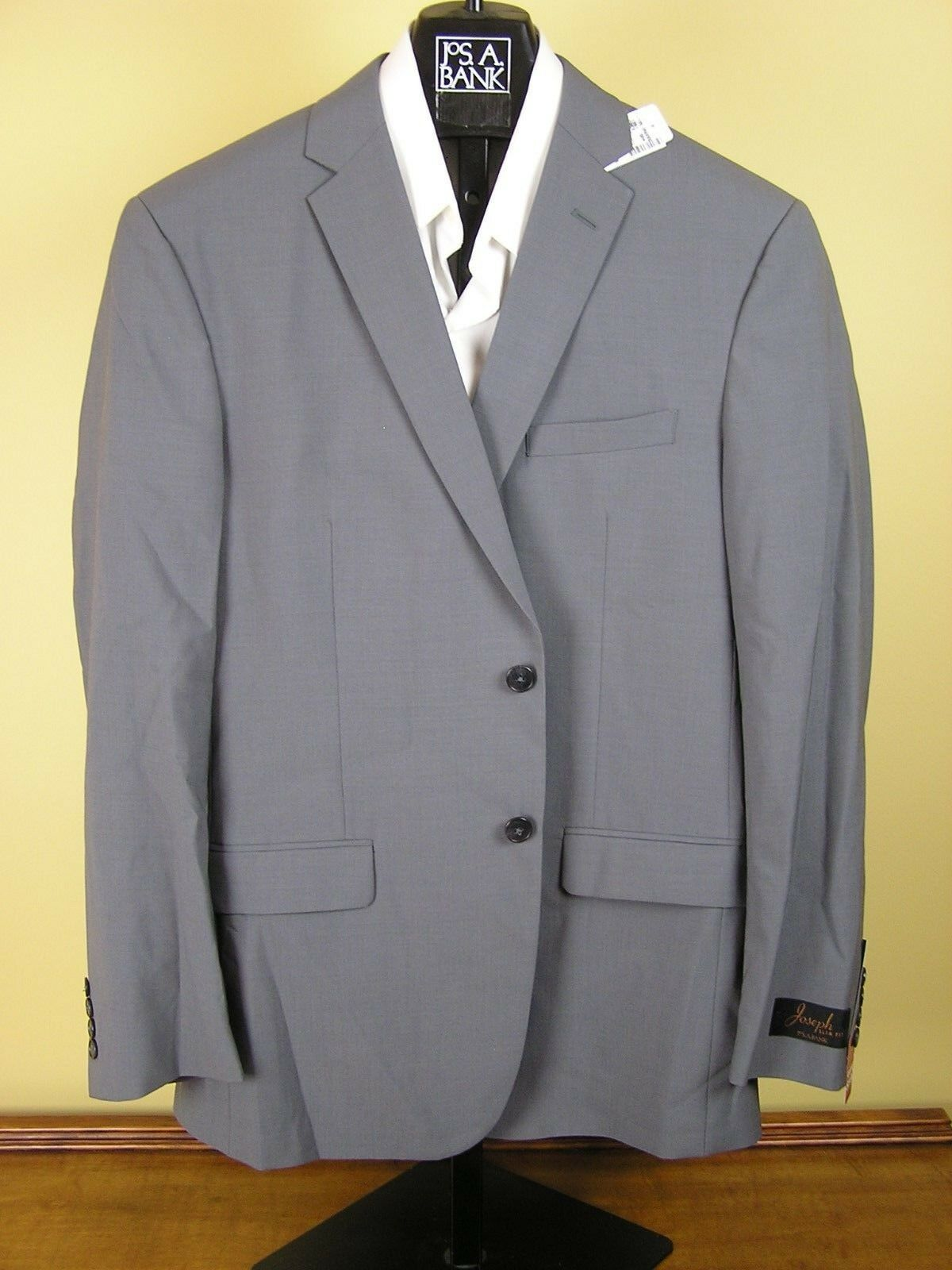 071297115 Jos A Bank JOSEPH solid grey suit 40 L 34 W Slim fit New npiysp8970 ...