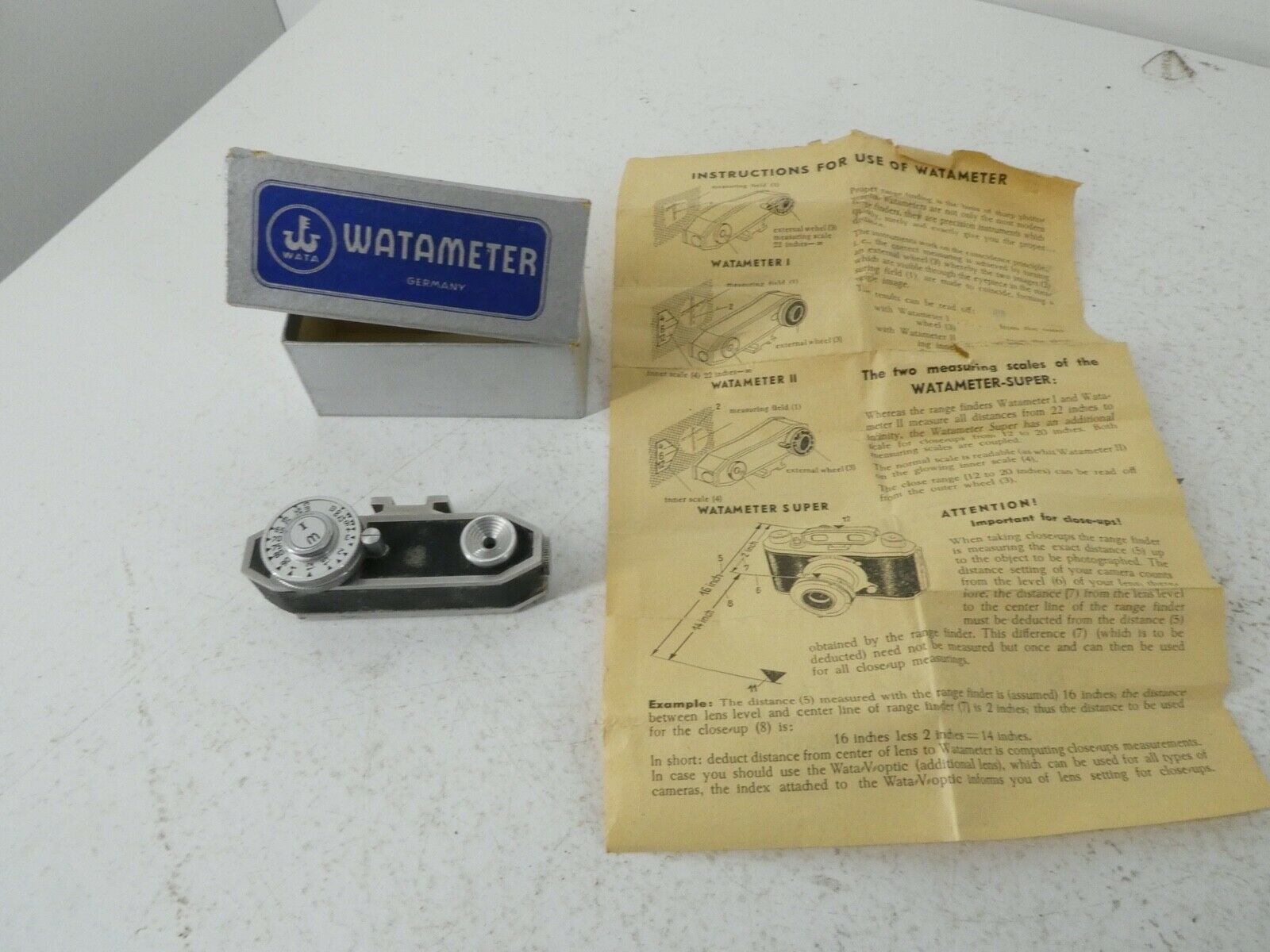 Vintage Watameter Rangefinder Shoe Mounted w/ Original Box Film Photography J28
