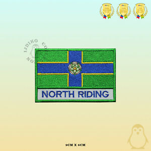 NORTH-RIDING-County-Flag-With-Name-Embroidered-Iron-On-Sew-On-Patch-Badge