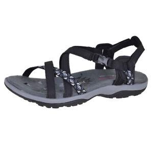 Details about Skechers Reggae Slim Vacay Black Blk Womens Ankle Strap 40955 BLK