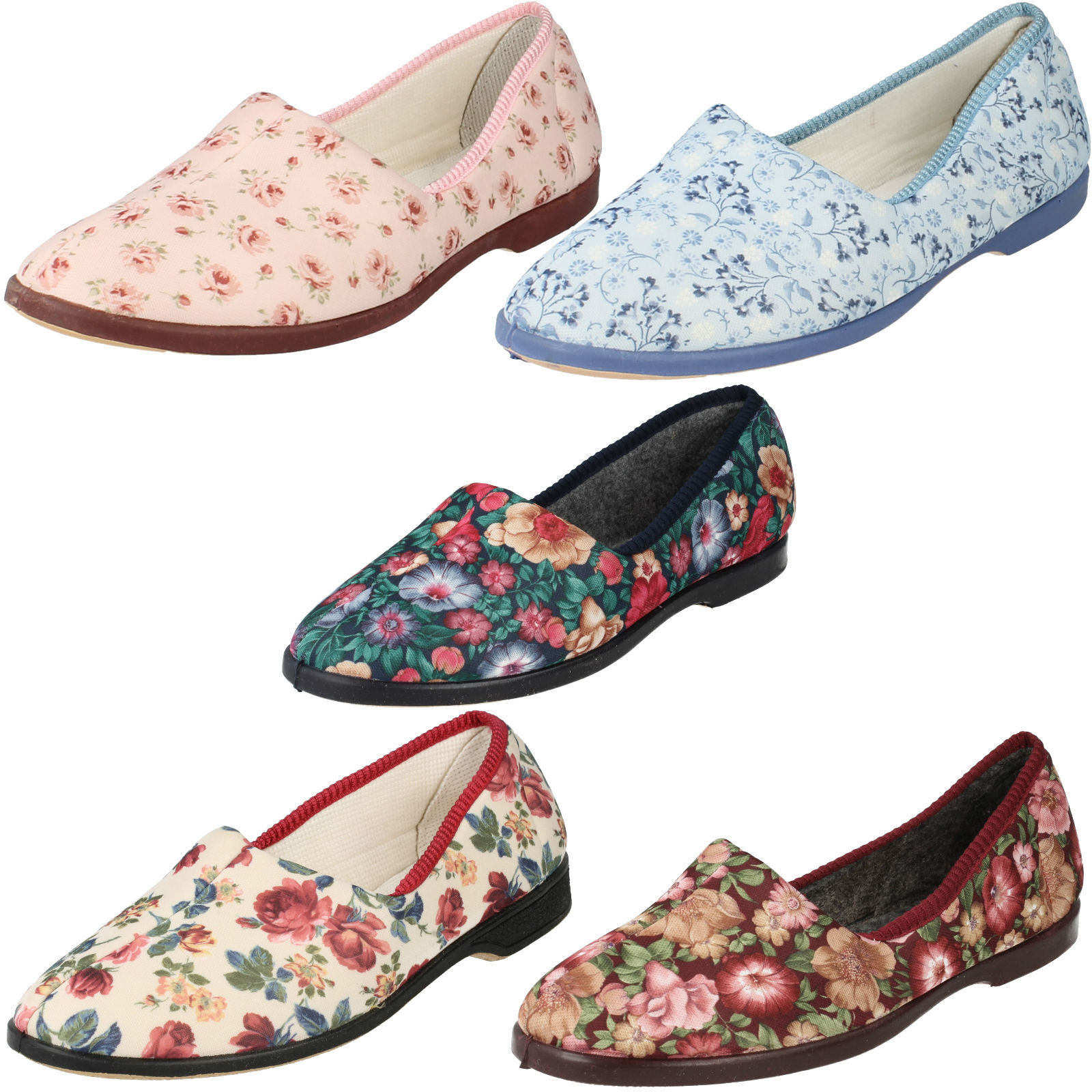 LADIES SOFT LADYLOVE FLORAL SLIP ON SOFT LADIES ROUND TOE SHOES FLEXIBLE WARM SLIPPERS bae87a