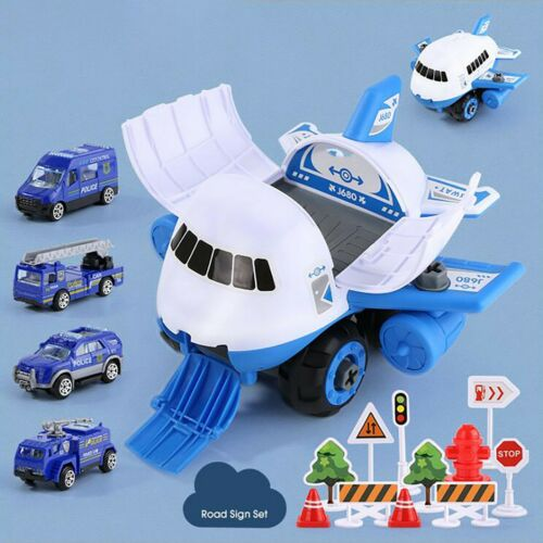 Airplane Car Toys Set Transport Cargo Aircraft With Fire truck Vehicles DIY Gift