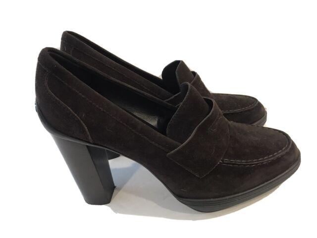Tods Black Suede Leather Platform Loafer Pumps Heels Size 38.5 EUR 8 US