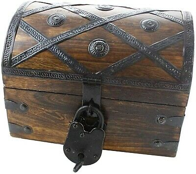 Treasure Chest Wooden Iron Lock Skeleton Key 8x6x6 Wood Storage Decorative Box
