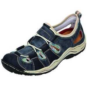 Details zu Rieker Leandra L0561 Slipper Halbschuhe Sandale blau rot multi Gr.37 43 NEU