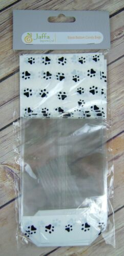 10 x DOG CAT PUPPY PAW PRINT Gift Bag Block Bottom Clear Cellophane Treat Bag