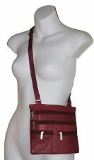 "Ladies Genuine Leather Cross Body Bag Satchel Messenger Bag 48"" Strap New"