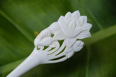 Hand Carved Flower Bovine Cow Bone Hair Stick Pick Or Shawl Pin Top Quality New Ebay