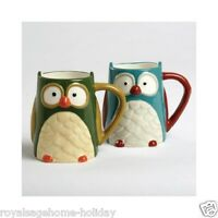 Tag Blue Owl Harvest Coffee Tea Mug Cup Kitchen Home Forest Nature Hoot Decor