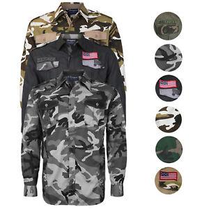 Men-039-s-US-Military-American-Long-Sleeve-Button-Up-Camo-Casual-Dress-Shirt