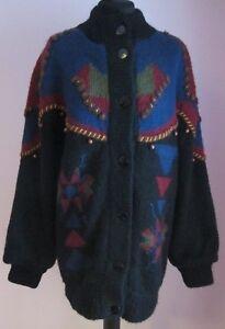 VTG-Ladies-Oversized-Black-Multi-Beaded-Lined-Acrylic-Mix-Cardigan-Size10-12-j64