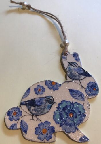Bunny Rabbit Hanging Decoration Real Wood Blue Floral Blue Tit