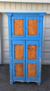 Antique-Cupboard-Pantry-Cabinet-Farmhouse-Kitchen-Jelly-Cabinet-Blue