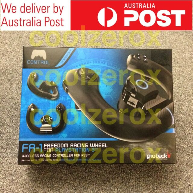 New & Sealed PS3 Wireless FR-1 Freedom Racing Wheel Gioteck Black -Aus Seller