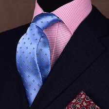 "Blue Diamond Squares Woven Tie Formal Business Fashion Dress Party 3"" Necktie"