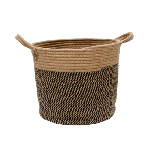 Portable Basket Cotton Rope Handle Round Natural Sea Grass Plant Storage Wood