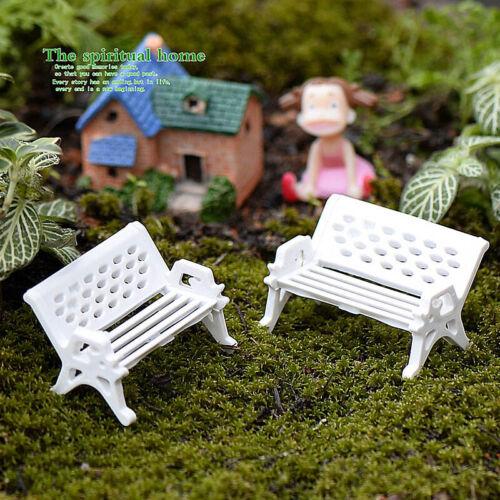 2PC Bench Chairs Figurines Miniature Fairy Garden Doll House Landscape Decor