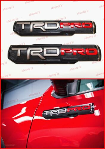 2PCS Pair 3D TRD PRO Emblem Nameplate Badge Decal Logo For Toyota Tacoma