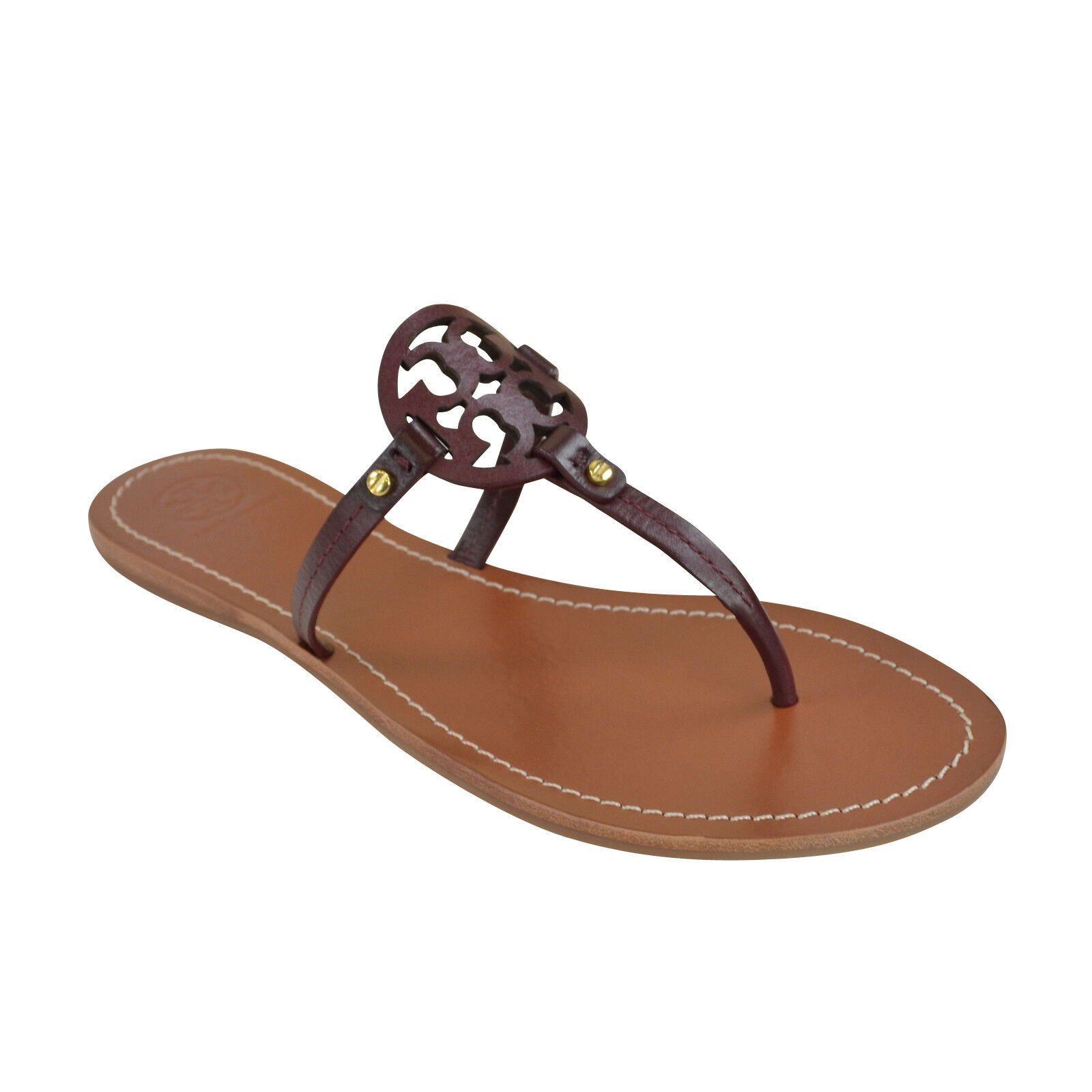 11127a2fe1e Tory Burch Mini Miller Thong Leather Sandals Oxblood 9