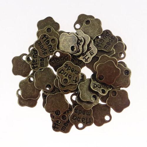 Handmade flor colgante 10 trozo Label 8mm bronce color metal-p00692x4-ei