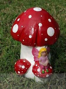 Details about Fairy mushroom garden ornament cement plaster latex moulds  molds
