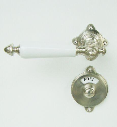 Gründerzeit WC oder Badgarnitur Nickel matt Griffe weiß 3-GWC-NMW Jugendstil