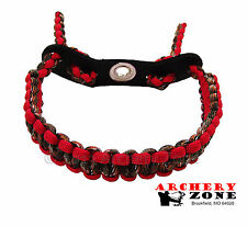 Red and Hidden (Lost) Camo Bow paracord wrist sling w/ Leather yoke Archery