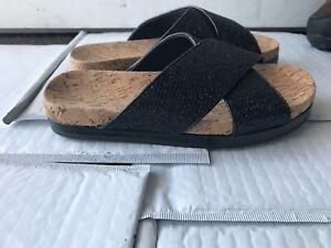 Women s ALDO black sparkly cross strap slides sandals size 6