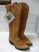 Bnib Ladies Frye Tan Leather Cowboy Boots Uk3 Us6 Tall Billy