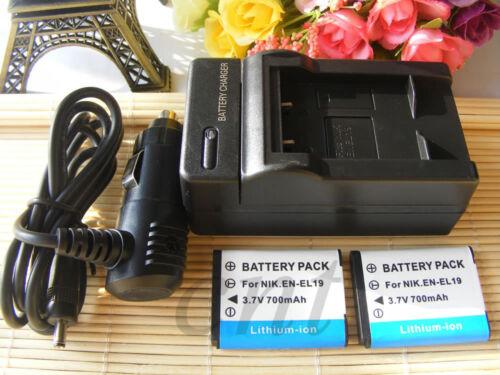 EN-EL19//pared y automóvil cargador de batería para Nikon Coolpix S3200 Sony NP-BJ1 DSC-RX0