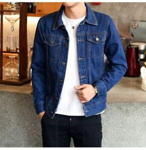 New-Men-039-s-Spring-Autumn-Slim-Denim-Jackets-Coat-Washed-Retro-Jean-Jacket-Coats