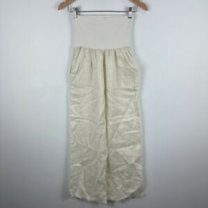 Elan-Womens-Linen-Pants-Medium-White-Elastic-Waist-Super-High-Rise-Wide-Leg