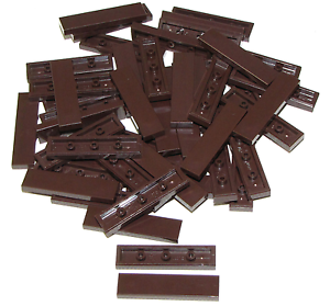 Lego-Lot-of-50-New-Dark-Brown-Tiles-1-x-4-Flat-Smooth-Pieces-Parts