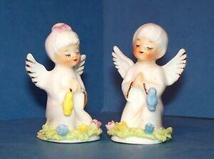 2 VTG Napco Miniature Praying Angels Spaghetti Trim w/ Birds & Flowers Figurines